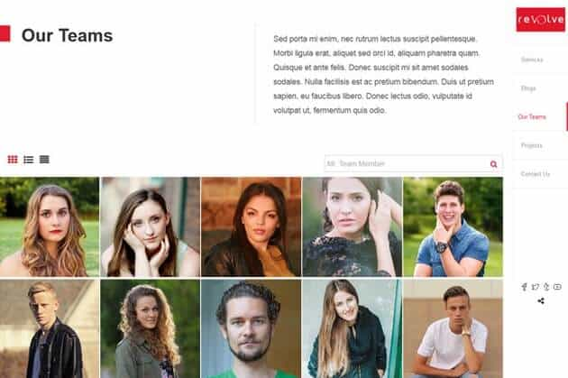 Revolve Free Vertically Scrolling WordPress Theme - Featured Team Page