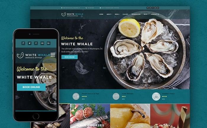 White Whale – Calm Seafood Restaurant WordPress Theme