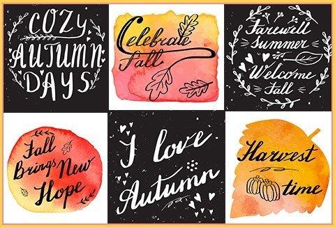 6 Autumn Hand Lettering & Watercolor Designs