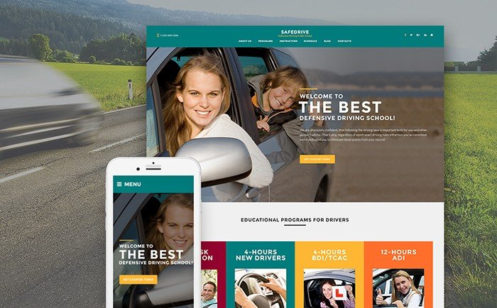 Driving School Responsive WordPress Theme