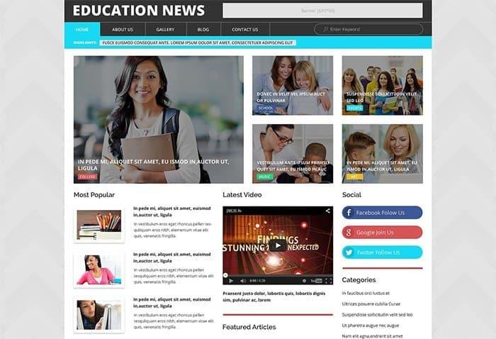Education News WordPress Template