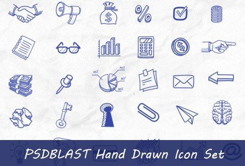 A set of awesome free icons from PSD Blast