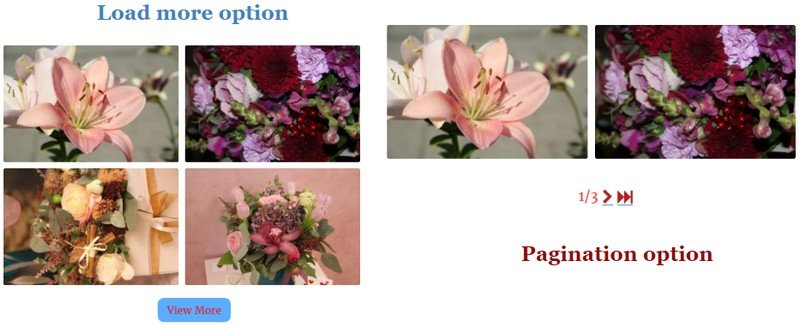 Pagination options.