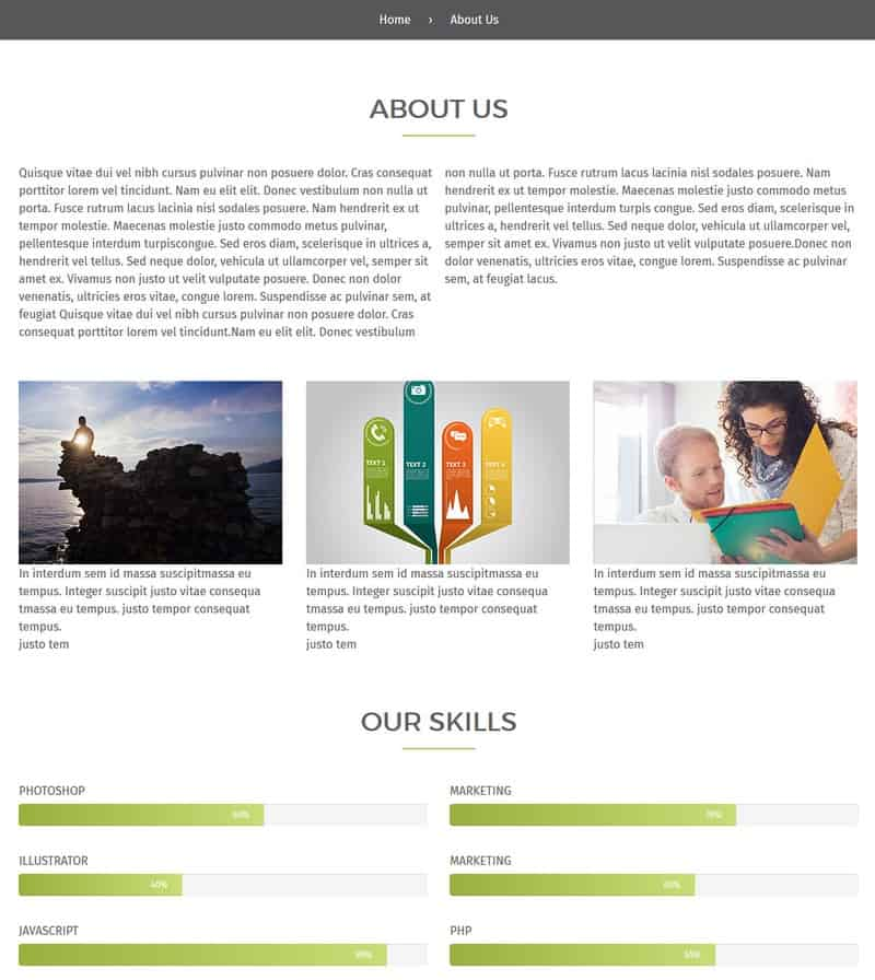 Responsive Business About Us Page Preview