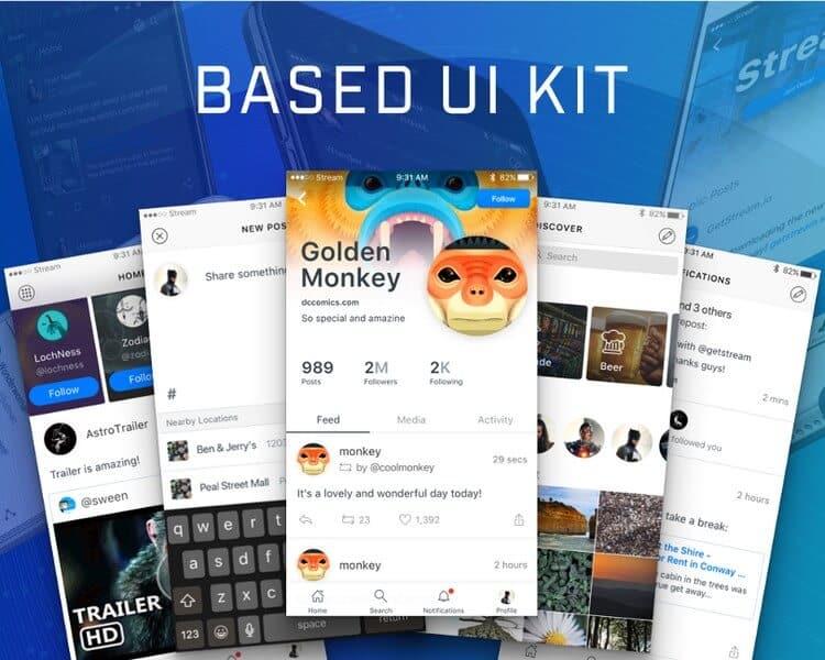 Free Sketch UI Kit – Design Social Activity Streams