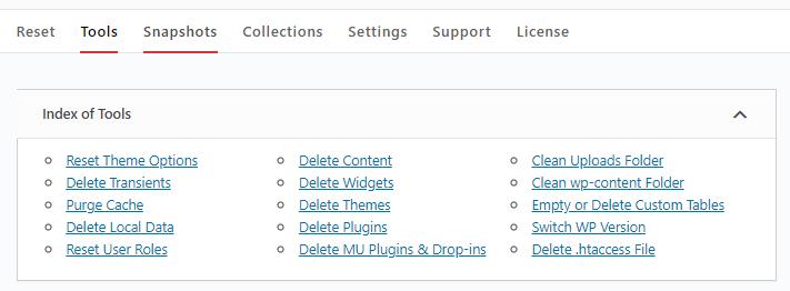 WP Reset resetting options