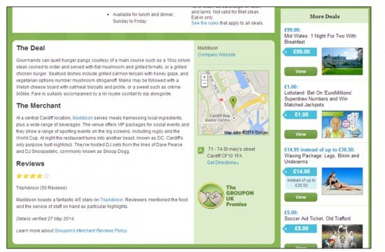 Check out how Groupon have used the space on the right