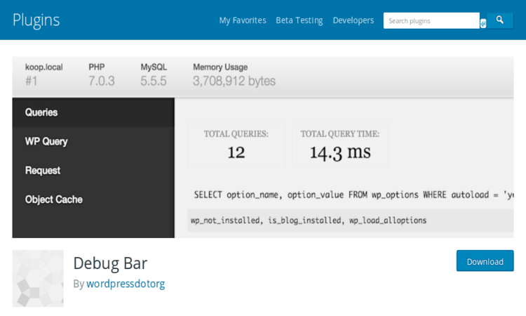 Debug Bar integrates extra debugging features to your site.
