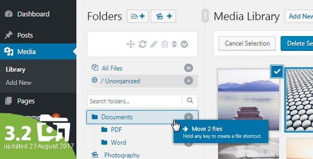 Real Media Library helps organize thousands of your images, audio, video, and PDF files in your gallery into folders.