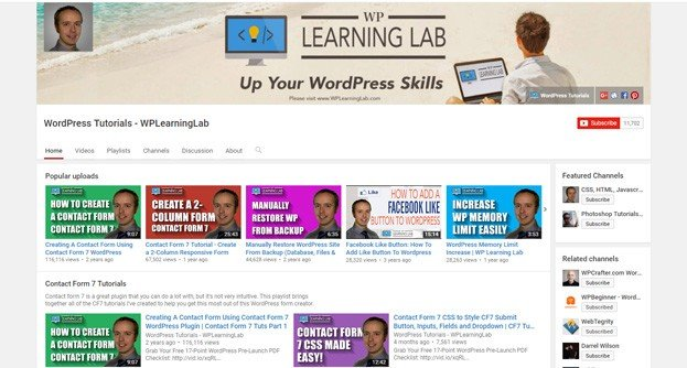 WPLearningLab is a YouTube channel for average WordPress users.