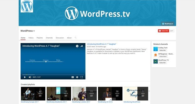 This channel is home to presentations from various WordPress meetups.