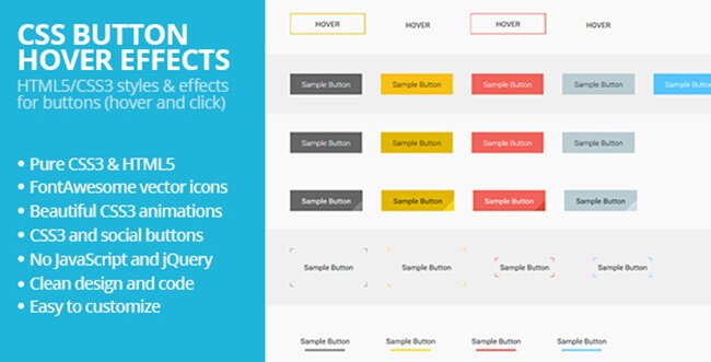 This pack contain pure HTML5/CSS3 flat buttons.