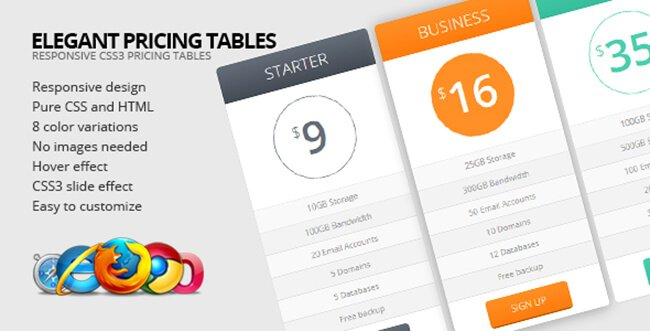 Elegant Pricing Tables is purely responsive and comes in 8 different colors.