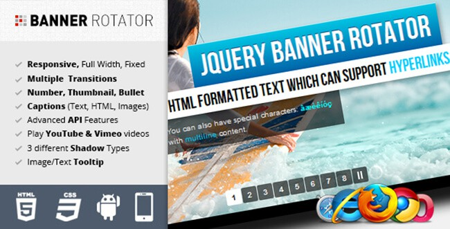jQuery Banner Rotator lets you add text effects in case you need captions for your banners.