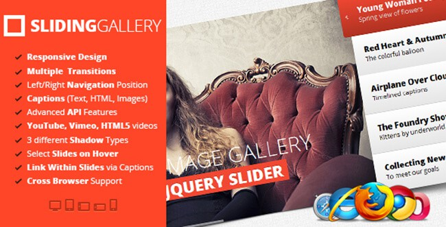 jQuery Sliding Image Gallery lets you use different types of transitions for each slide.