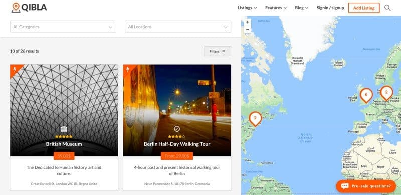 Qibla WordPress theme offers multiple choices of listings.