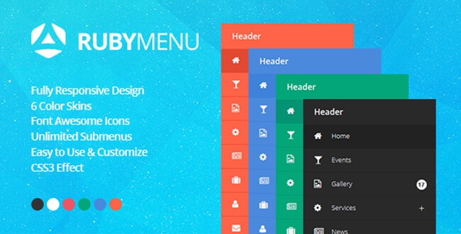 This responsive jQuery vertical navigation supports multiple instances.