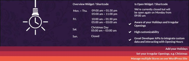 The widget will enable you to add the opening hours of your offline or online business..