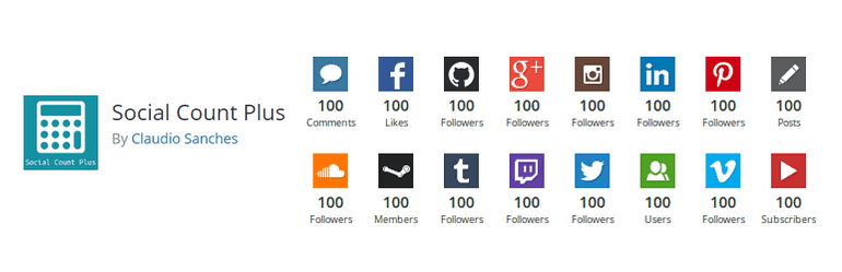 Social Count Plus that will display the social media follower count on the sidebar of a website..