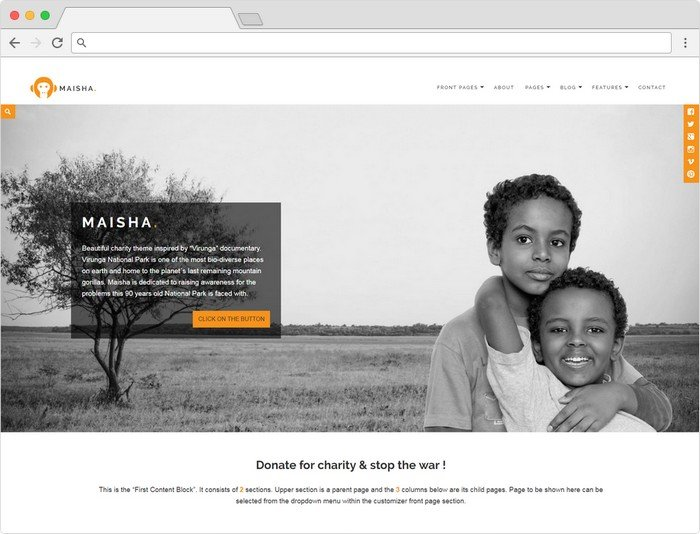 Maisha charity WordPress theme