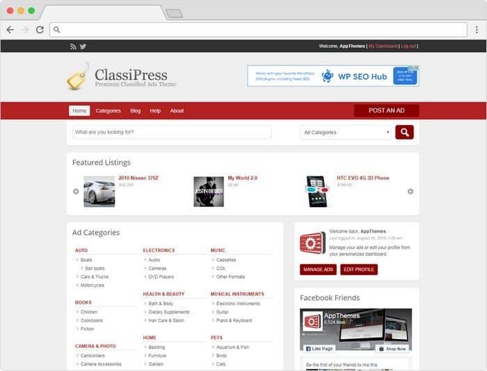 ClassiPress is the original & most popular WordPress classified ads theme.