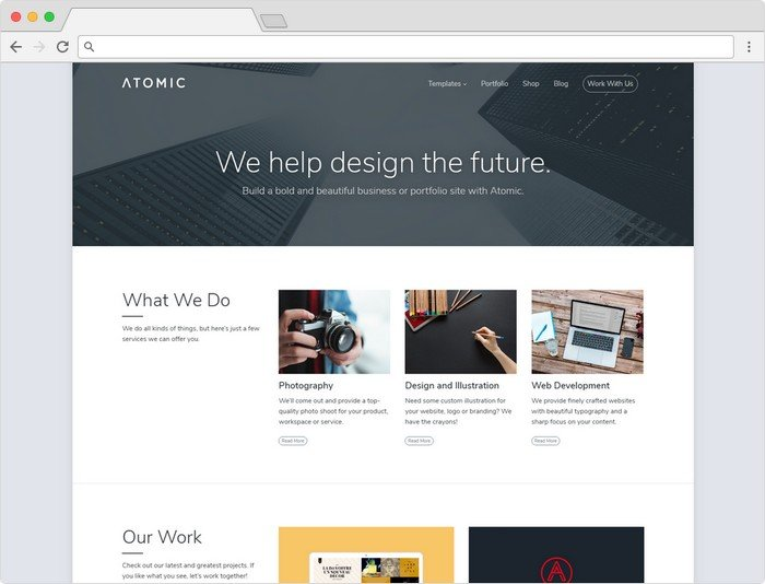 Array Themes best-selling theme of 2017 was Atomic, a business and portfolio theme.