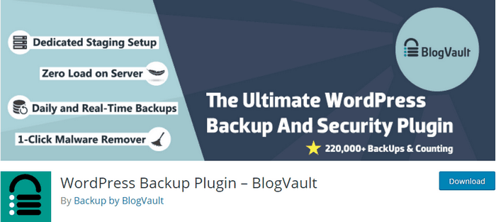 BlogVault is a WordPress backup and restores plugin.