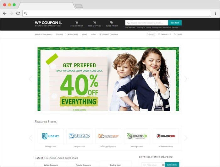 The theme provides everything you need to build affiliate coupon code websites.