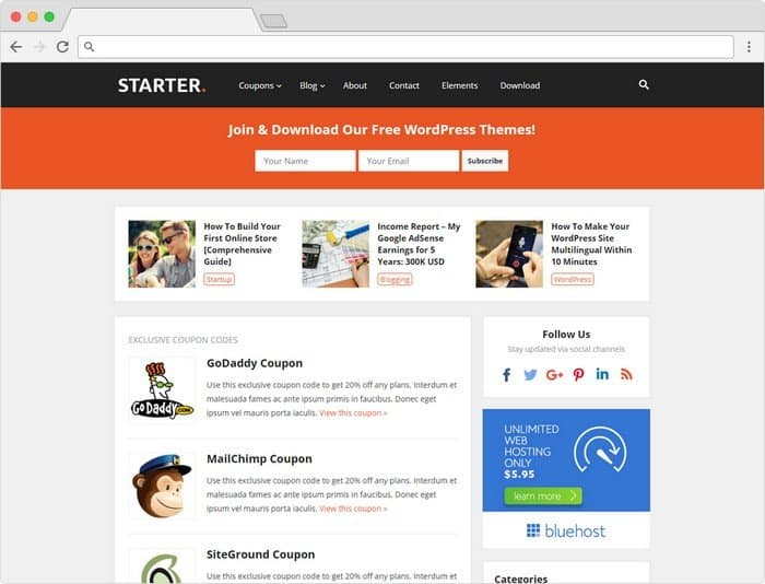 Starter is stylish WordPress blog theme that built with coupons/deals functionalities.