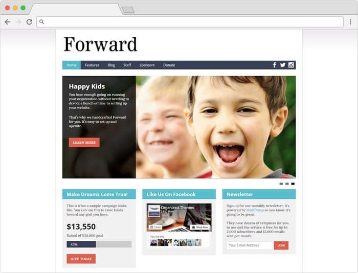 Forward Nonprofit WordPress Theme has been designed to give you just what you need to create an amazing site for your organization.