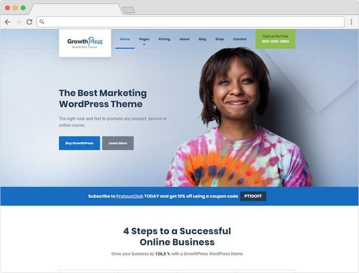 GrowthPress is all-around marketing WordPress theme perfect for almost any kind of online business.