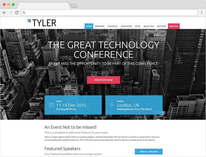 Tyler combines a fresh design with advanced event planning features.