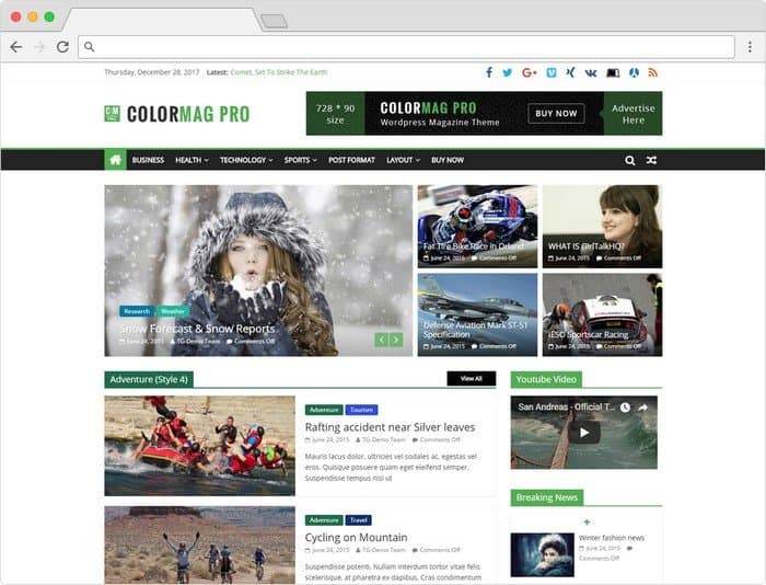 ColorMag is a beautiful responsive WordPress theme for online magazines and newspapers.