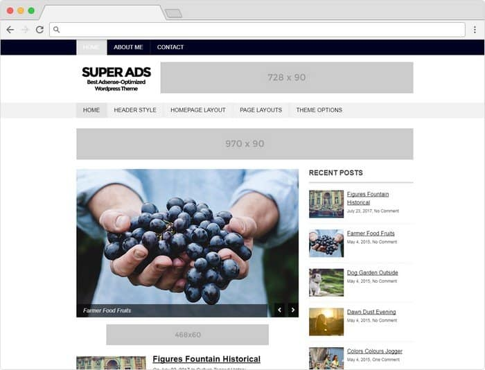 Super Ads is mainly designed for clean looking and fast loading.