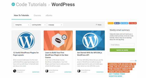 WordPress is a standalone category for TutsPlus' code section with only epic posts.