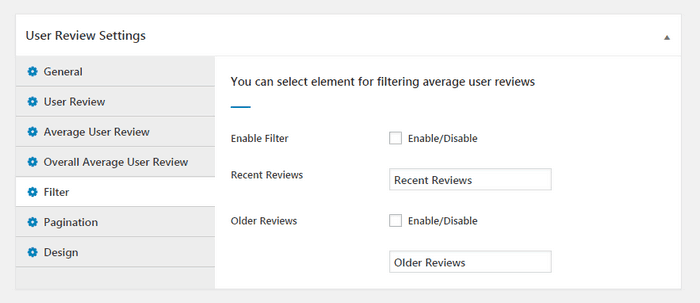 Likewise, the User Review Settings provides us the configuration options.