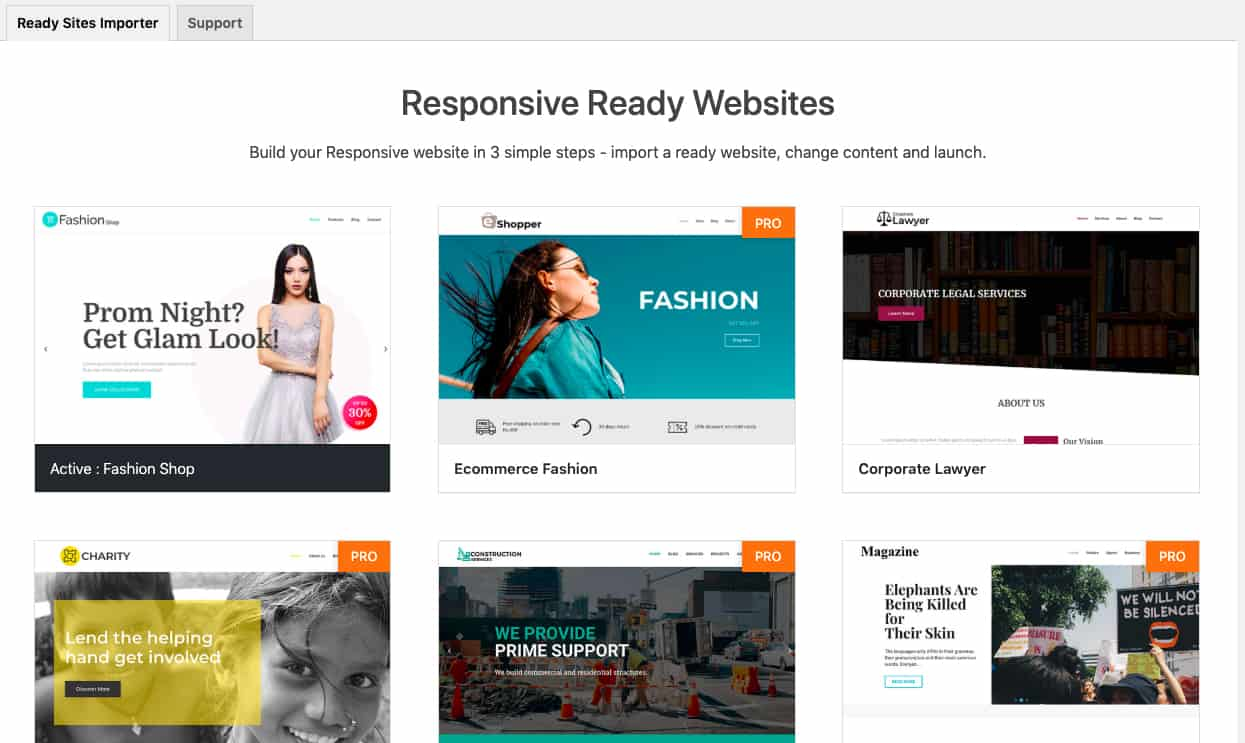 Responsive WordPress Theme importing sites