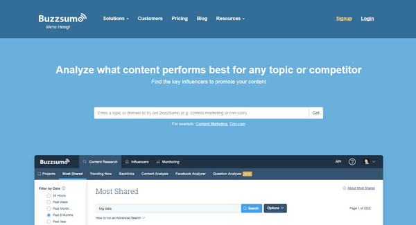 BuzzSumo is a perfect tool for content marketing.