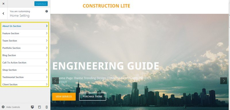 Highly Configurable Homepage – Construction Site Focused.