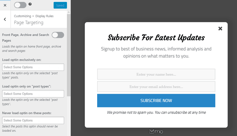 Use the page-level targeting feature to separate your email list and create a group.