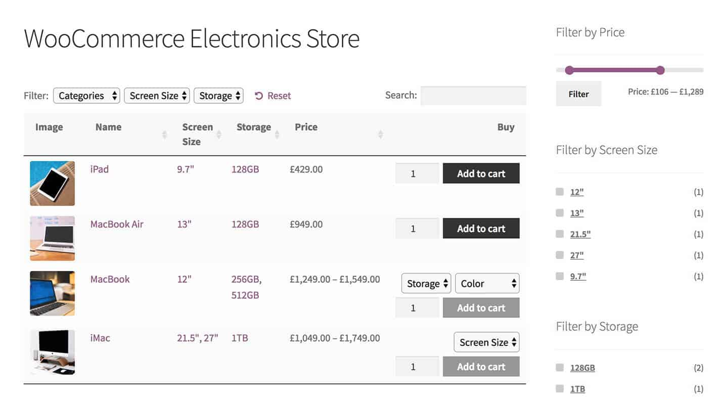 A product table tailored for a WooCommerce electronics store,