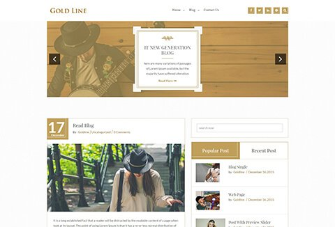 GoldLine Light- A Free WordPress Blog Theme