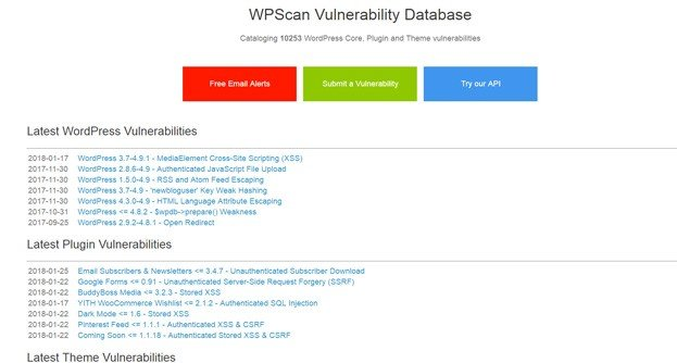 WP Scan Vulnerability Database is a database of WordPress core, plugin, and theme vulnerabilities.