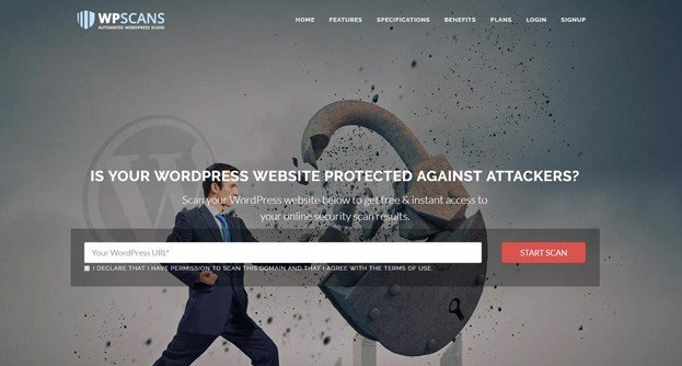 WP Scans is a web application that analyses WordPress sites.