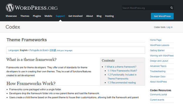 """Beginner's Guide - According to the WordPress Codex, a framework is a """"set of standards for theme developers to use in creating their themes."""