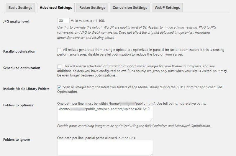 EWWW Image Optimizer Advanced Settings