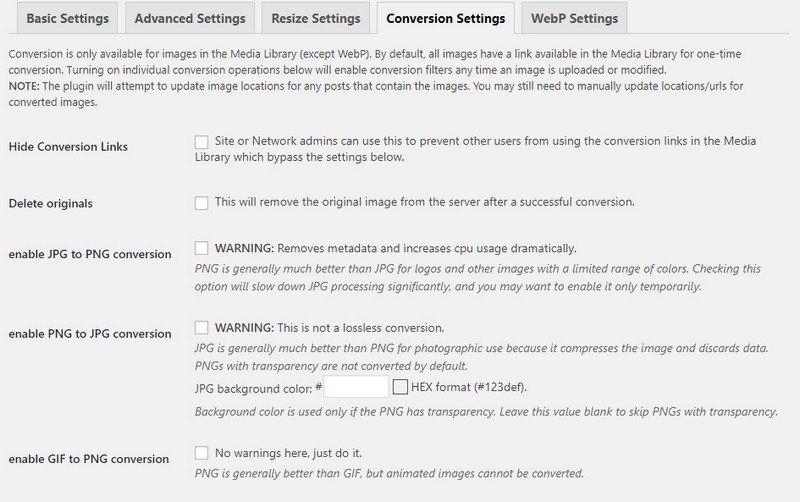 EWWW Image Optimizer Conversion Settings