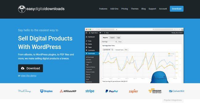 Easy Digital Downloads has the easiest way to sell digital products with WordPress.