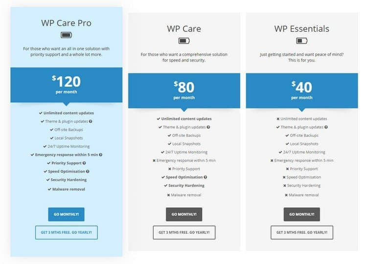 WP Blender has three pricing plans.