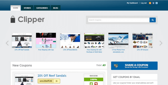 Clipper is a discount and coupon WordPress theme from AppThemes.
